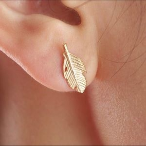 Feather Bohemian Delicate Gold Tone Stud Earrings